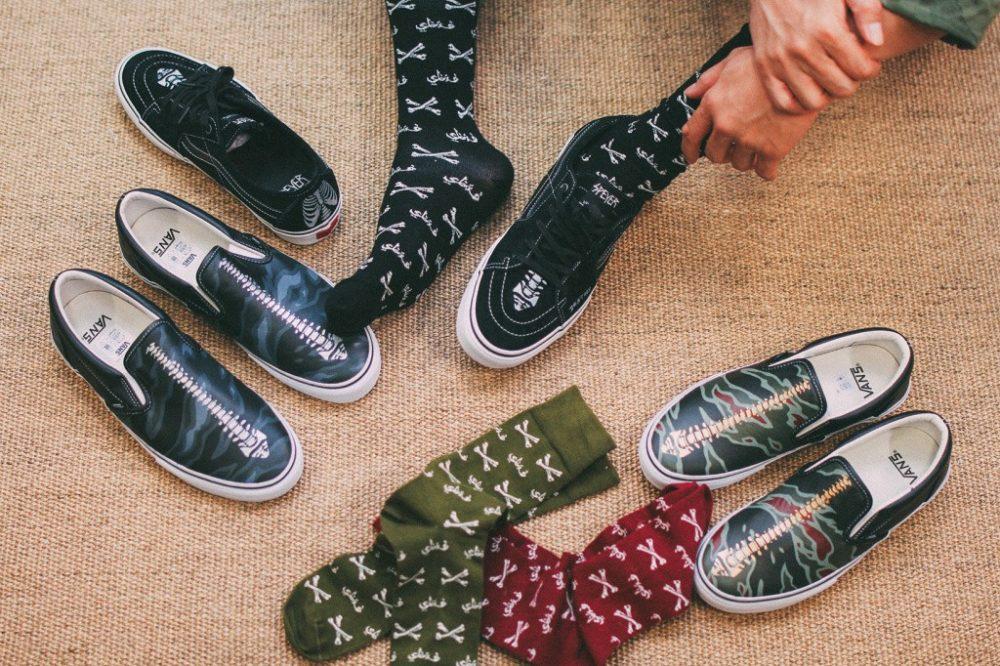 SBTG Surplus e Happy Socks criam meias com estampa de ossos