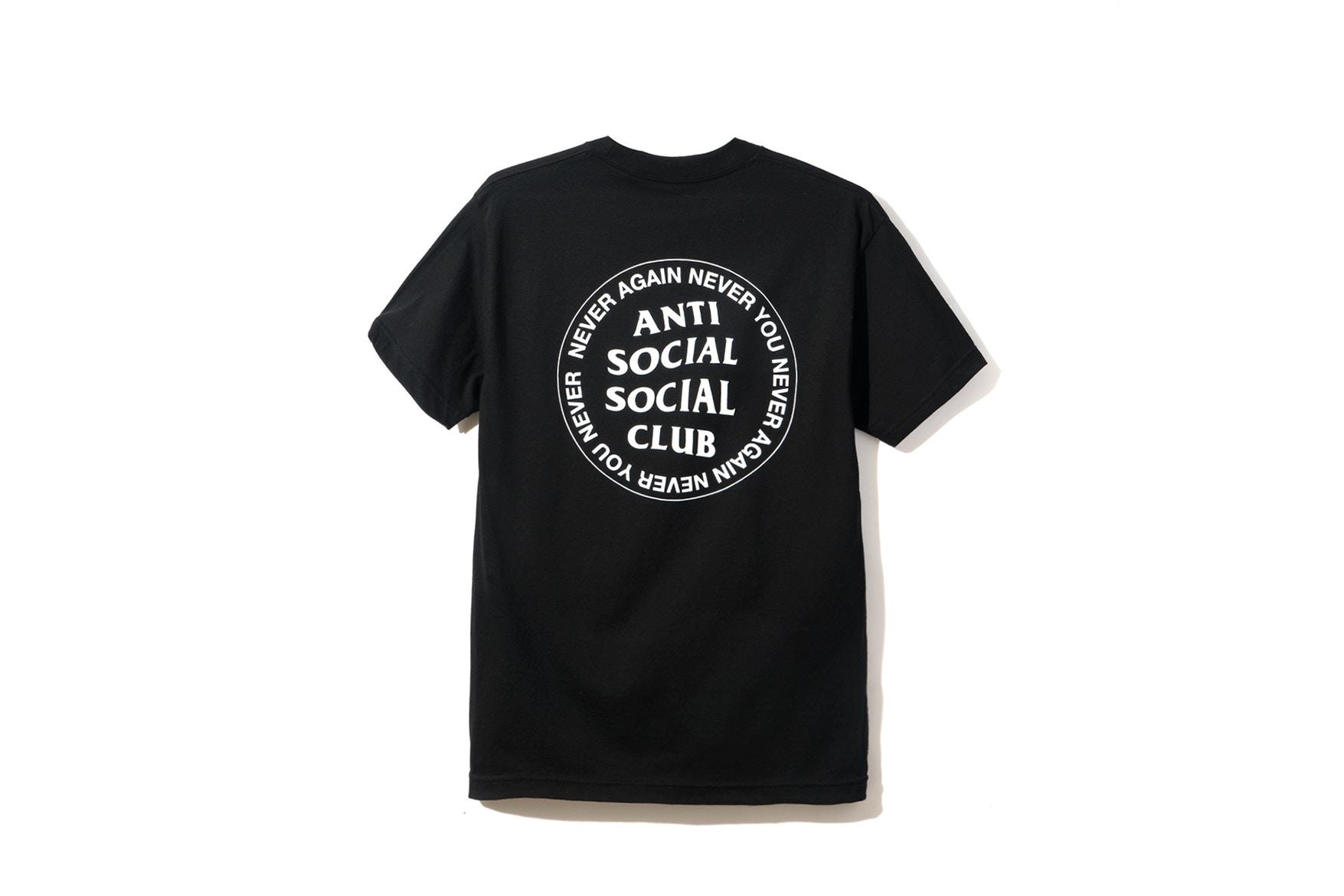 Anti Social Social Club assc logotipo nunca nunca mais você Tee Camiseta Bape Autoriz