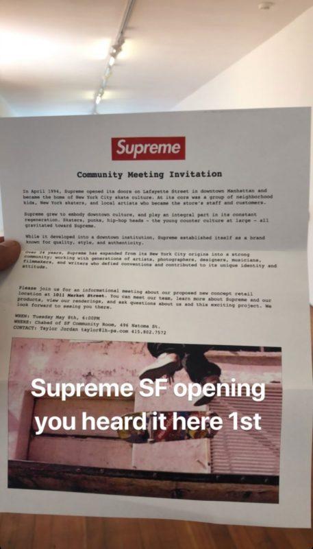supreme san francisco flyer - Supreme deve abrir loja em São Francisco