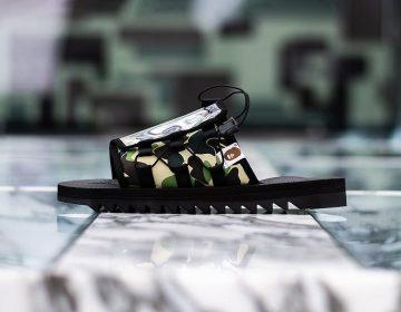 """BAPE aplica camuflagem """"1ST CAMO"""" em sandálias da SUICOKE"""